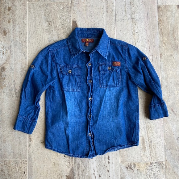 7 For All Mankind Blue Shirt Size 2T Boys